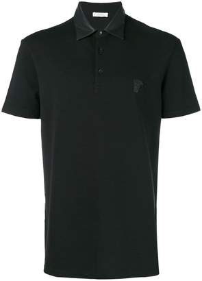 Versace faux leather collar polo shirt