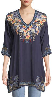 Johnny Was Kalea V-Neck Embroidered Tunic, Plus Size