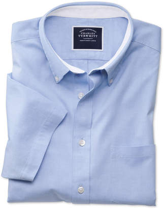 Charles Tyrwhitt Slim Fit Sky Blue Washed Oxford Short Sleeve Cotton Casual Shirt Single Cuff Size Large