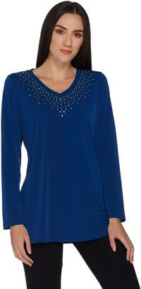 Factory Quacker Embellished V-Neck Long Sleeve Jersey Tunic