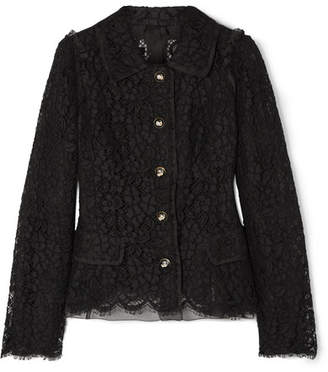 Dolce & Gabbana Cotton-blend Guipure Lace Jacket - Black