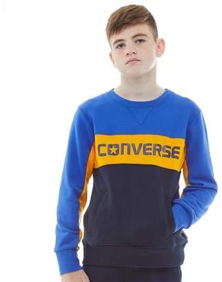 d3b2760cfe5c Converse Junior Boys Colourblock Crew Sweatshirt Obsidian