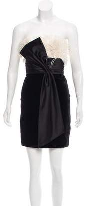Marchesa Velvet Feather-Trimmed Strapless Dress