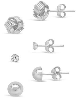 Sterling Forever Sterling Silver CZ & Love Knot Earrings Set