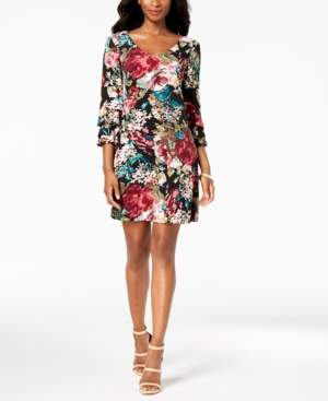 Connected Floral Printed Tiered-Bell-Sleeve Dress