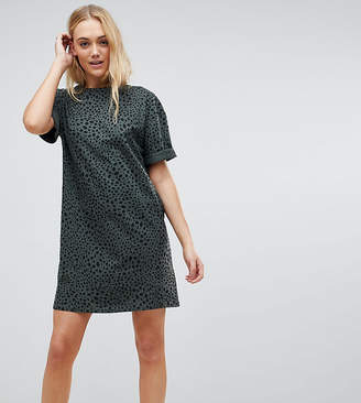 Asos Tall TALL Ultimate T-Shirt Dress with Rolled Sleeves In Leopard Print