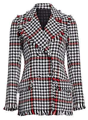 MSGM Women's Houndstooth Tweed Jacket