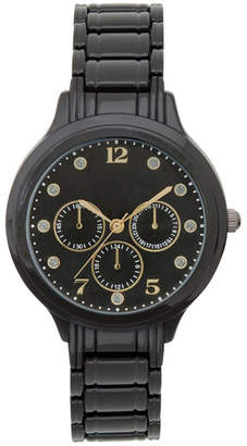 JCPenney FASHION WATCHES Womens Black Dial Crystal-Accent Watch