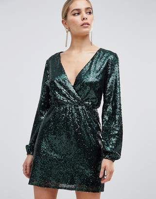 Outrageous Fortune sequin wrap front long sleeve skater dress in emerald green