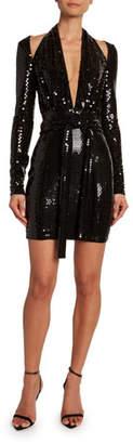 Tom Ford Sequined Cold-Shoulder Mini Dress