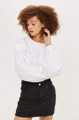 Topshop Petite Glitter Mesh Denim Skirt