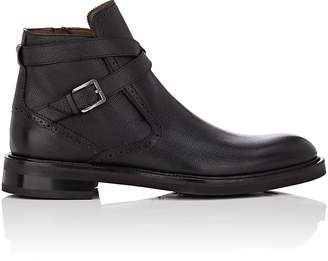 Salvatore Ferragamo Men's Becker Textured Leather Jodhpur Boots