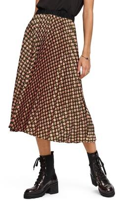 Scotch & Soda Print Pleated Midi Skirt