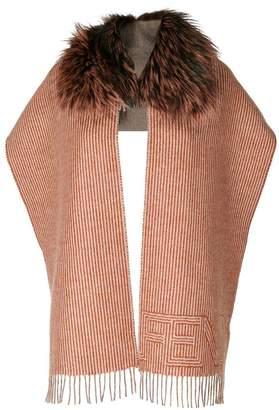 Fendi fur trim striped scarf