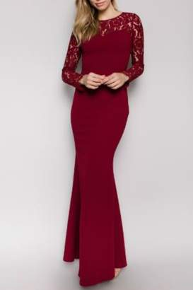 Minuet Burgundy Long Formal Dress with Lace Sleeve