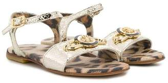 Roberto Cavalli Junior logo ankle strap sandals