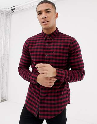 Hollister muscle fit gingham check oxford shirt icon logo in burgundy