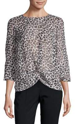 Highline Collective Leopard Twisted Front Blouse e1304b7f9
