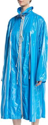 Zip-Front Oversized Nylon Jacket