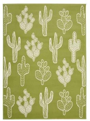 Green Homemaker Cactus Pattern Rug
