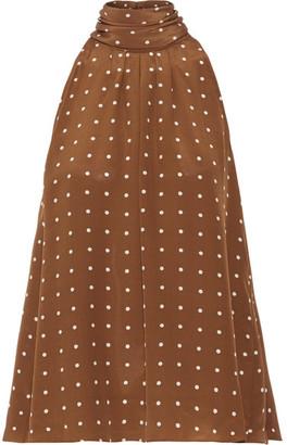Diane von Furstenberg - Polka-dot Silk Crepe De Chine Blouse - Brown $250 thestylecure.com