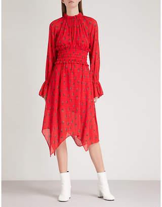 Mo&Co. Floral-print pleated chiffon dress