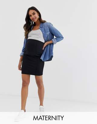 Mama Licious Mama.Licious Mamalicious maternity organic knee length tube skirt in black