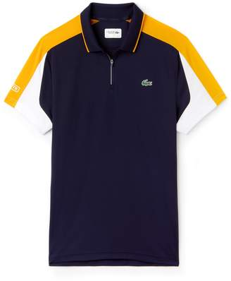 Lacoste Men's SPORT Zip Neck Contrast Bands Pique Tennis Polo