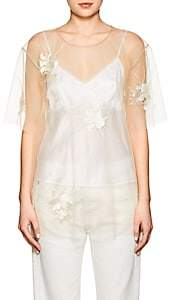 Helmut Lang Women's Embroidered Sheer Tulle Top - Ivorybone