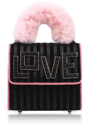 Les Petits Joueurs Baby Alex Black Widow Fur Handle Satchel Bag