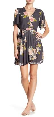 Angie Surplice V-Neck Floral Print Dress