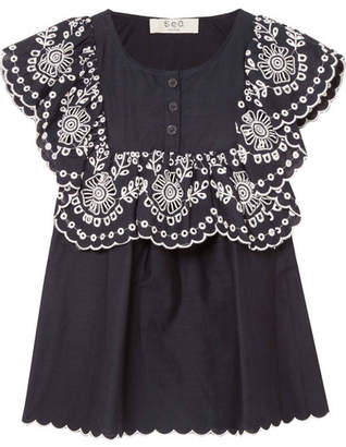 Sea Ruffled Broderie Anglaise-trimmed Cotton Top - Navy
