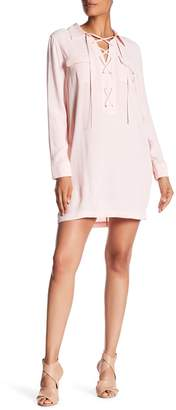 1 STATE 1.State Lace Up Long Sleeve Shift Dress