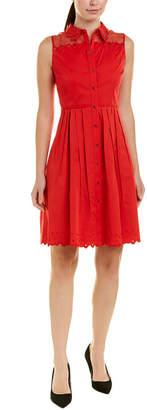 Elie Tahari Silk-Trim A-Line Dress