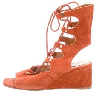 Chloé Lace-Up Cutout Wedges