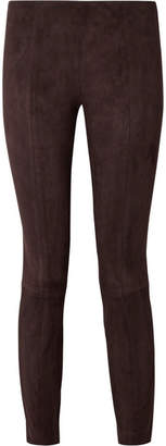 The Row Cosso Stretch-suede Skinny Pants - Dark brown