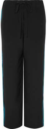 Haider Ackermann Satin-trimmed Silk Crepe De Chine Track Pants - Black