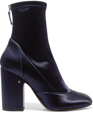Laurence Dacade - Melody Stretch-satin Boots - Navy $900 thestylecure.com