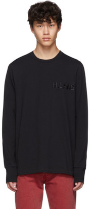 Helmut Lang Black Embroidered Logo Standard Long Sleeve T-Shirt