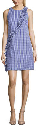 LONDON STYLE Sleeveless Gingham Fit & Flare Dress-Petite