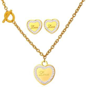 U7 Women Jewelry Set Wedding Party Accessories Stainless Steel Stud Earrings High Polished Heart Charm Bracelet Necklace Sets