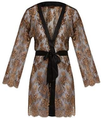 Coco De Mer - Ametrine Silk Blend Chantilly Lace Robe - Womens - Black Gold