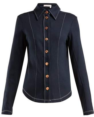 See by Chloe Contrast Stitch Slim Fit Shirt - Womens - Navy