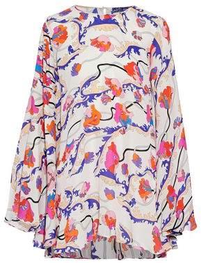 Emilio Pucci Draped Printed Silk Crepe De Chine Blouse