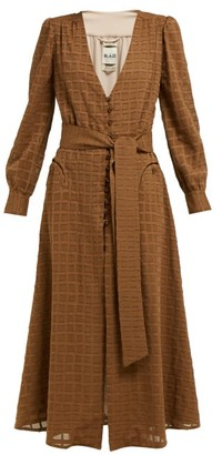 BLAZÉ MILANO Sirocco Belted Cotton Blend Midi Dress - Womens - Brown