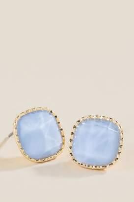 francesca's Adele Facet Blue Studs - Periwinkle