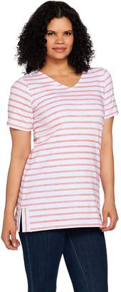 Denim & Co. Active Striped Short Sleeve V-Neck Tunic with Side Slits