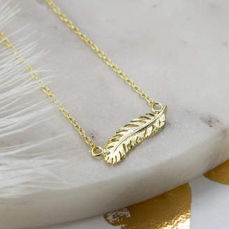 148e2166dcd6be Martha Jackson Sterling Silver Gold Plated Sterling Silver Feather Necklace