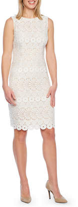 Liz Claiborne Sleeveless Floral Lace Sheath Dress