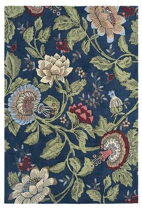 Wedgwood Navy Passion Flower Wool Rug